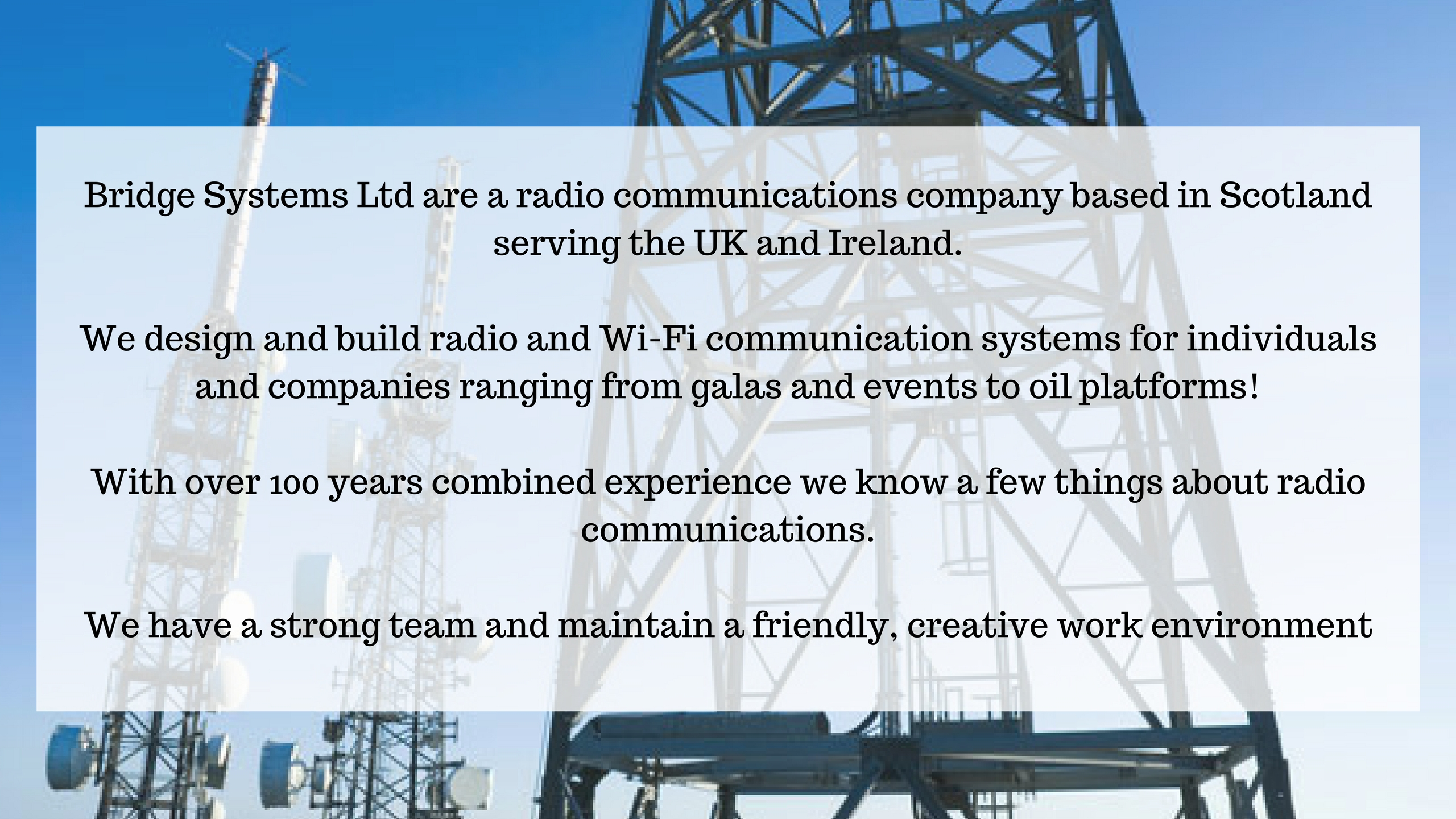 Bridge Systems Ltd picture of mast and company mission statement