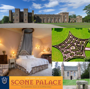 Scone Palace frontage, bedrooms, maze
